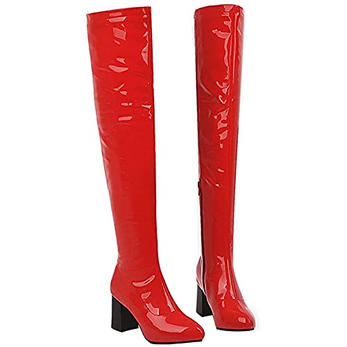 PYTRMHI Botas de mujer sobre la rodilla, tacón grueso de PU de cuero de patente puntiagudo botas altas con cremallera lateral, rojo, 37EU