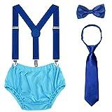 Baby 1st / 2nd Birthday Cake Smash Outfit Set Tirantes ajustables Tie Bloomers Pack de 4 para fotografía de cumpleaños (Azul real/Azul cielo)
