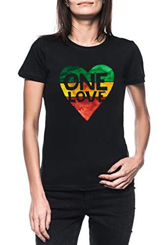One Love Music Rasta Reggae Heart Peace Roots Damen Schwarz T-Shirt Kurzarm Women's Black T-Shirt