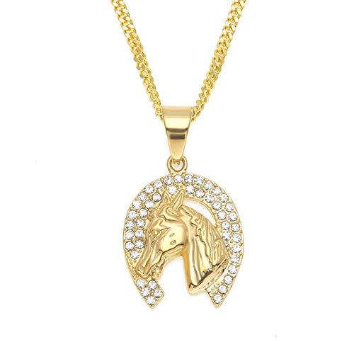 Ciondolo da uomo a forma di testa di diamante con placcatura sottovuoto, in acciaio inox, ornamento a forma di cavallo (oro), gioielli