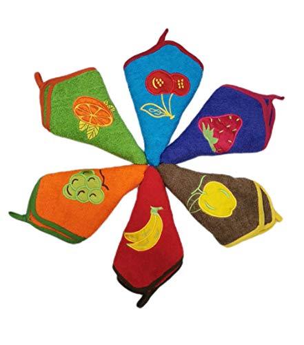 Pack 6 PAÑOS DE Cocina Rizo - Paños de Cocina Rizo (50x50 cm) - Bordados y ribeteados - con Colgador - Muy absorbentes y duraderos - con Mucho Cuerpo (500 GRM/M²) - Colores Surtidos