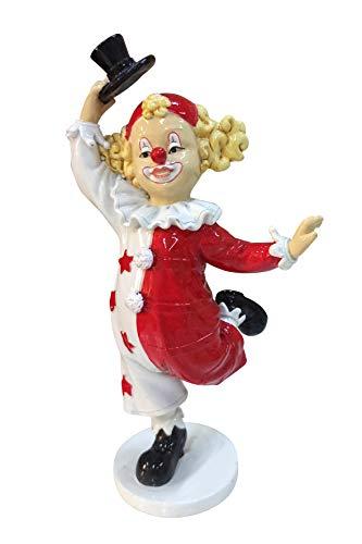 Oberle Dekofigur Clown tanzend mit Hut rot weiß 18 cm Figur Karneval Köln Harlekin