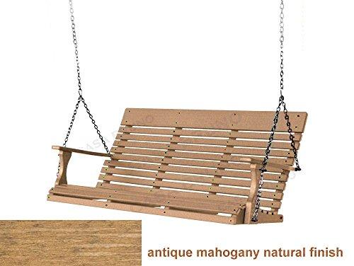 CASA BRUNO Original Savannah Hängeschaukel / Gartenschaukel 160 cm breit, aus recyceltem Polywood® HDPE Kunststoff, antique mahogany natural finish - kompromisslos wetterfest