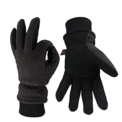 OZERO Winter Gloves Coldproof Snow Work Glove - Deerskin Leather Palm & Polar Fleece Back with Insulated Cotton - Windproof Water-Resistant Warm Hands in Cold Weather for Women Men - Denim(L)
