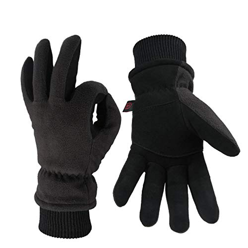 Winter Thermal Gloves Cold Proof Insulated Work Glove for Driving Cycling Hiking Snow Skiing - Deerskin Suede Leather Warm Polar Fleece Waterproof Hand Warmer for Men and Women Denim-Black X-Large