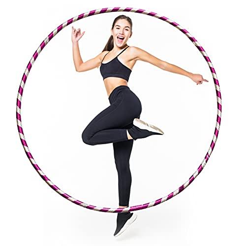 LUMOUS Hula Hoop de 80 cm para adultos y niños, juguete rosa para fitness, desmontable y tamaño ajustable, adecuado para gimnasia, baile, ejercicios divertidos, niñas, niños y mascotas