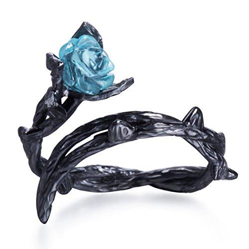 Anello rosa blu nero spine fiore anello anello in argento sterling fiore per le donne e argento-placcato-base, 7, colore: Blu, cod. MS