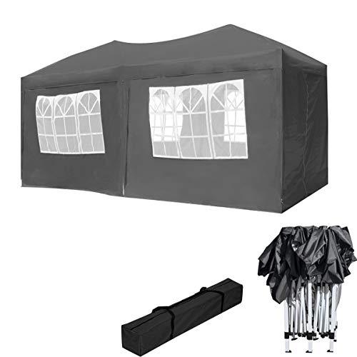 HENGMEI Gartenpavillon Faltbare Pavillon Faltpavillon Gartenzelt Partyzelt Sonnenschutz (3x6m, mit Seitenteilen, Anthrazit)