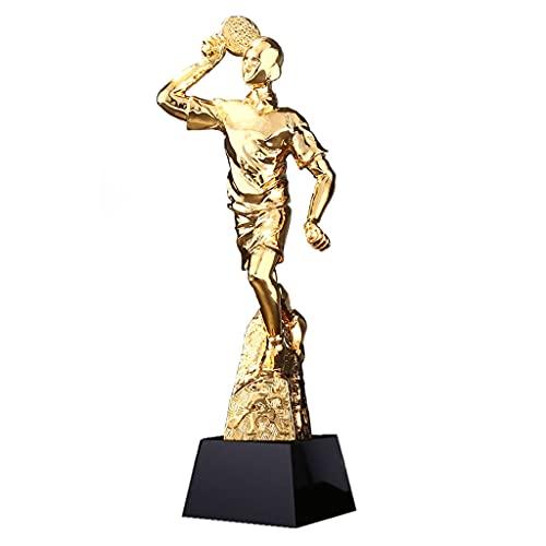 Trofeos De Tenis De Mesa Chapado En Oro Campeonato De Juegos Deportivos Embalaje De Caja De Regalo Texto Personalizable (Color : Gold, Size : 8 * 8 * 29cm)