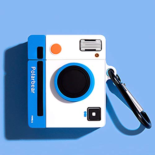 Compatible for Camera AirPods case 1/2, Retro Camera Protective Silicone Skin Case for AirPods, Kids Teens Boys Girls Funny Kawaii Cute Fashion Cartoon 3D Cover for AirPods 1/2 with Keychain (Blue)