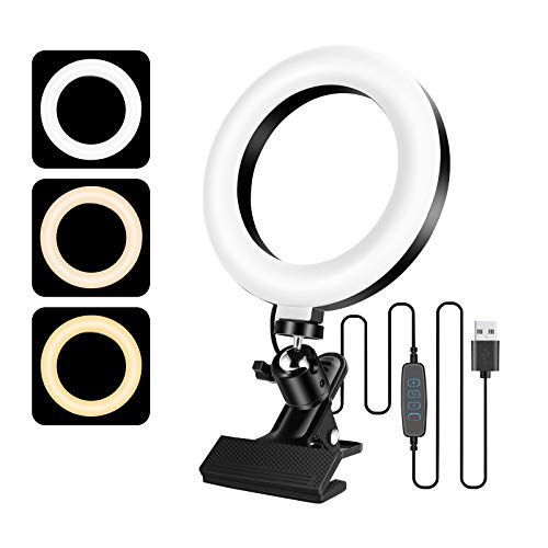 16,3 cm pequeña luz Tik Tok LED Ring Light para Youtube Maquillaje Lámpara Anular Ajustable con 3 Modalidades de Iluminación y 10 Niveles de Brillo