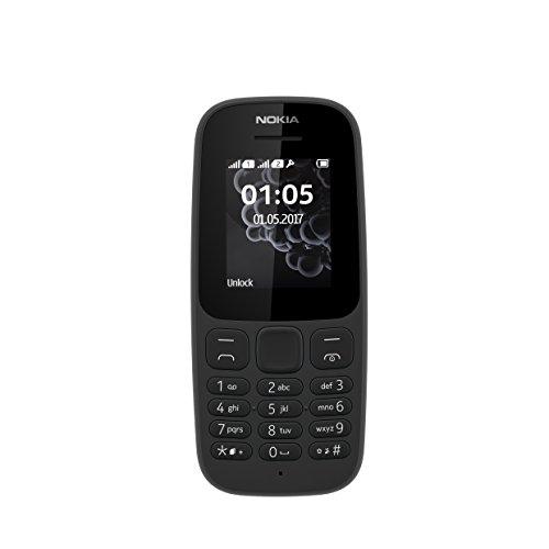Nokia 105 Mobiltelefon (1,8 Zoll Farbdisplay, FM Radio, 4 MB ROM, Dual-Sim) schwarz, version 2017
