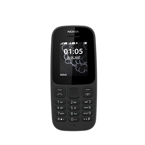 Nokia 105 4.57 cm (1.8') 73 g Black Feature phone - Teléfono móvil (Bar, 4.57 cm (1.8'), 120 x 160 pixels, 800 mAh, Black). International Version