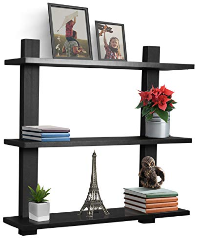 Sorbus Floating Shelf with Metal Brackets — Wall Mounted Rustic Wood Wall Storage, Decorative Hanging Display for Trophy, Photo Frames, Collectibles, and Much More (3-Tier – Grey)