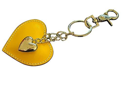 Ideas regalo corazón de Dama llavero mujer cuero llavero corazón llavero mujer elegante coche casa con gancho mosquetón y anillos llavero forma corazón auténtica piel elegante amarillo S