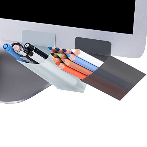 MinniLove モニター ペン立て ペンスタンド 2セット入 収納ペン立て 卓上収納 文具収納 多機能分類箱 小物収納ボックス 小物入れ 収納ボックス 整理分類 便利簡単 デスクの利用空間アップ (グレー三角形+ホワイト四角形)