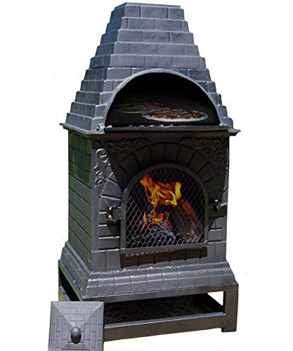 The Blue Rooster Casita Wood Burning Chiminea Outdoor Fireplace Grill and Oven.
