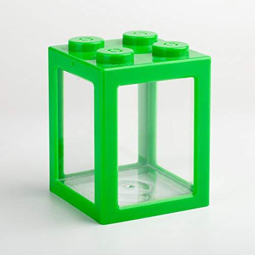 MZD Mini Multicolor Apilable Bloques de Construcción Ecológica Creativa Acuario Peces Araña Tanque Pequeño Reptil Mascota Caja Hogar Mesa Decoración Verde