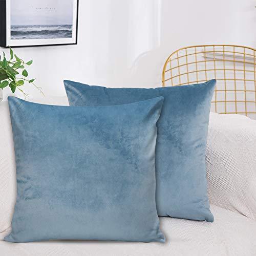 J TOHLO Juego de 2 Fundas de cojín de Terciopelo Fundas de Almohada Cuadradas Decorativas de Terciopelo Suave Fundas de Cojín con Cremallera para sofá Dormitorio(Azul grisáceo, 45 * 45cm)