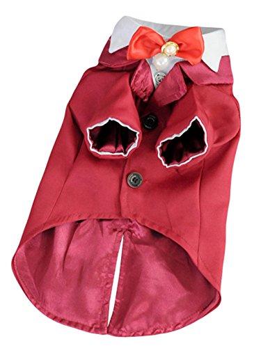 EOZY-Blazer da Cane Pets Abito Sposo Matrimonio Cravatta Giacca Rosso Petto di 38cm
