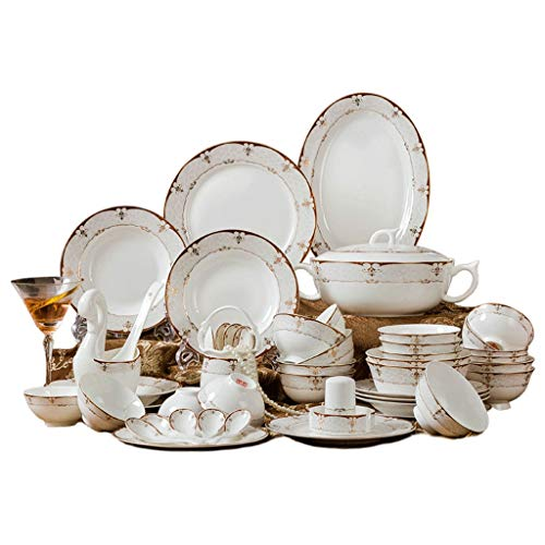 JIAX 60 Pieces of Porcelain Dinner Plate Set, Set of Saucers Soup Bowls Dessert Plates Dinner Plates Serving for 10 People, High-end Dishes, Household Set Dishes Combination