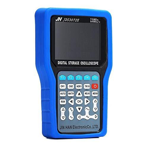 NO BRAND Osciloscopio Digital Multímetro Digital de Mano del osciloscopio Digital de 2 Canales MAX 500MSa / s Frecuencia de muestreo con el Generador de Señal 3 en 1 (Color : Azul, tamaño : JDS3072E)