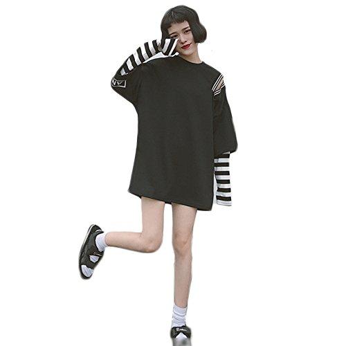 Harajuku - Camiseta de manga larga para mujer, diseño de rayas Blanco Negro ( Taille unique