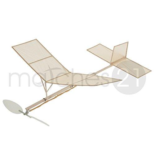 matches21 Saalflieger Indoor Flugzeug 280 mm Bausatz f. Kinder Werkset Bastelset ab 11 Jahren