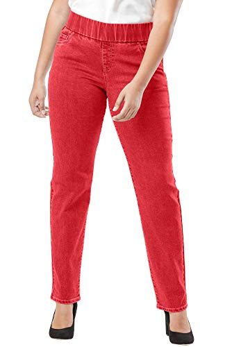 Jessica London Women's Plus Size Comfort Waistband Jeans - 12, Bright Ruby