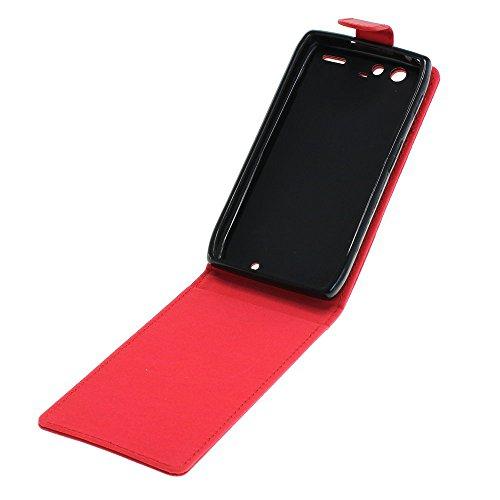 Mobilfunk Krause - Flip Hülle Etui Handytasche Tasche Hülle für Motorola RAZR XT910 (Rot)