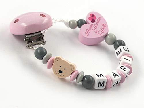 Schnullerkette mit Namen Mädchen - rosa - grau - Bär - Teddy- Teddybär - Herz - Kleines Wunder der Welt - Holz - Silikonring Baby - Taufgeschenk