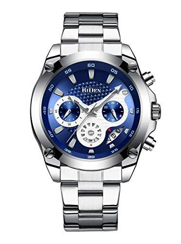 Relojes Hombres Reloj Acero Inoxidable Cronógrafo Fecha Calendario Impermeable Hombre Negocio Reloj de Cuarzo analógico Vestido de Moda Diseñador de Deportes Relojes de Pulsera para Hombre