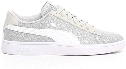 Puma Damen Smash V2 Glitz Glam Jr Sneaker, Silber Weiß-Grau Violett, 38 EU