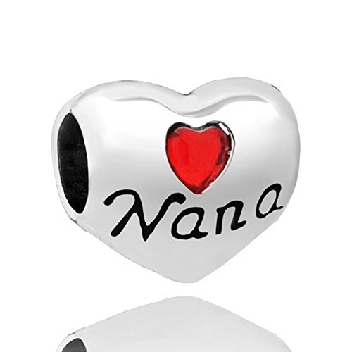 Mel Crouch Red Heart Love Nana Charms Grandma Family Charm Beads for Bracelets (1)