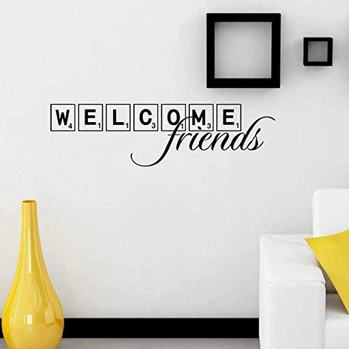 Pegatinas de pared,Bienvenido Amigos Scrabble Azulejo Artista Inicio Etiqueta PVC Decoración de pared 76Cm * 19.1Cm