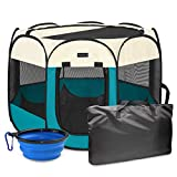 Autokcan Portable Pet Playpen, Dog Playpen Waterproof Foldable Indoor/Outdoor Travel Use Dog Kennel Pet Tent Pet Exercise Pen 4 Sizes for Dog/Cat/Puppy/Rabbit/Hamster