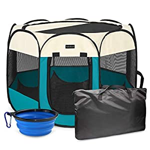 Autokcan Portable Pet Playpen, Dog Playpen Waterproof Foldable Indoor/Outdoor Travel Use Dog Kennel Pet Tent Pet Exercise Pen 4Size for Dog/Cat/Puppy/Rabbit/Hamster