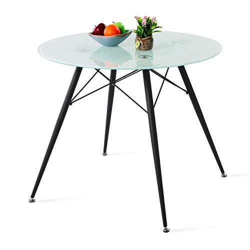 IPOTIUS Moderno Tavolo da Pranzo in Vetro Rotondo per 4 Persone, Tavolo da Cucina, Gambe in Metallo Nero e Doghe in Metallo, 90x90x75cm Bianco