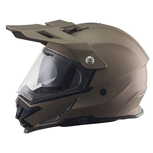 TRIANGLE Motorcycle Modular Full Face Helmet Off-Road Sport ATV Motocross Dirt Bike Dual Visor [DOT Approved ] (Large, Matte Gold)