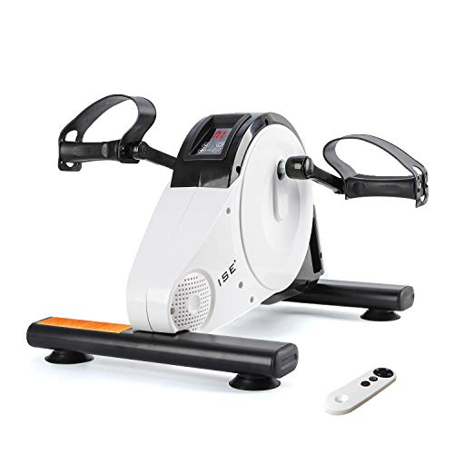 ISE Mini Bike, Mini-Heimtrainer, Armtrainer und Beintrainer, Hometrainer, Pedaltrainer für Muskelaufbau, Ausdauertraining, ideal für Senioren (Weiß)