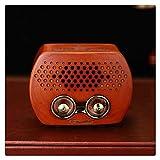 KDLK Altavoz de Radio FM MP3 portátil Retro con Bluetooth Sonido de Alta fidelidad de Madera Ranura para Tarjeta TF Recargable Old Fashioned Classic Car Audio (Color : Cherry Wooden)
