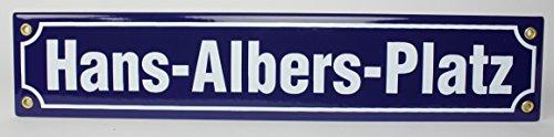 Hans-Albers-Platz Emaille Straßenschild 40x8cm Emailleschild blau weiß