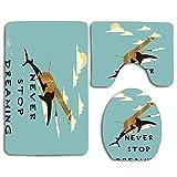 Creative Giraffe on The Back of Shark Flaying in The Sky Never Stop Dreaming Juego de alfombras de baño de 3 piezas Alfombra de baño antideslizante + Alfombrilla de baño en forma de U + Funda de asien
