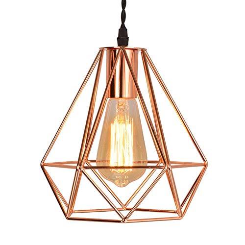 Känd vintage koppar metall taklampa - retro stil industriell geometrisk gör-det-själv lampskärm taklampa som passar för restaurang kaffebar (rosguld)