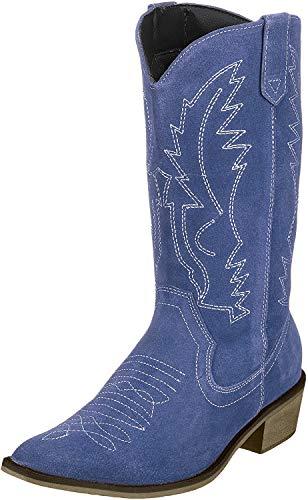 Kick Schuhe Damen Leder Cowboy Western Boots spitz zulaufender Zehenbereich Damen breite Wade Stiefel, Blau - Blue Suede - Größe: 40