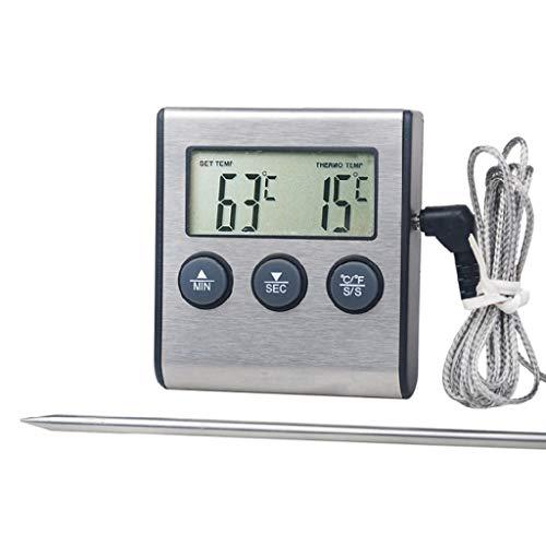 BLEUNUIT Termómetro de Alimentos, termómetro Digital de Cocina, Pantalla LCD, Alarma de sonda Larga para Parrilla, Horno, Alimentos