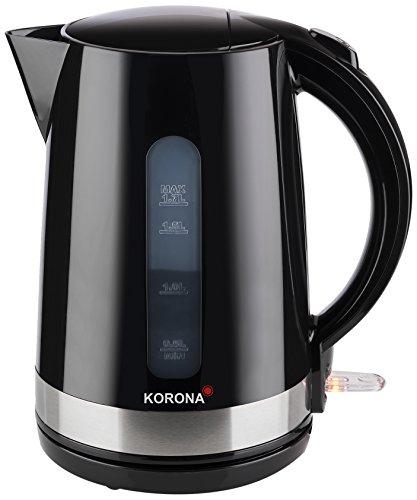 Korona 20232 Wasserkocher schwarz mit 1,7 Liter Fassungsvermögen - leistungsstarker Kocher mit 360° Basisstation, 2200 Watt