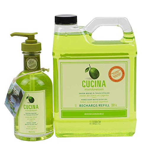Cucina Hand Soap 200 Milliliter and 1 Liter Refill Set (Lime Zest and Cypress)