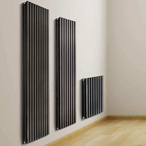 VILSTEIN Paneel Heizkörper Design doppellagig, Mittelanschluss und Seitenanschluss, 600x600 mm, vertikal, Schwarz