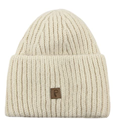 Frentree Gorro de invierno para mujer, gorro de punto con sensación agradable, suave y cálido, talla única, beige,
